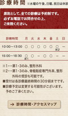 診療時間:水曜の午後、 土曜の午後、日曜、祝日は休診
